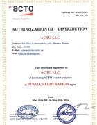 Сертификат официального дистрибьютора ACTO LLC