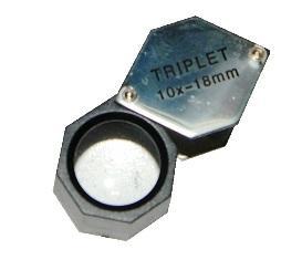 Лупа - триплет 10х шестигранная хромированная в пластиковом корпусе, d- 18мм