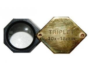 Лупа - триплет 10х шестигранная золотая в пластиковом корпусе, d- 18мм