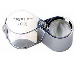 Лупа - триплет 10х круглая хромированная в металлическом корпусе (в футляре), d-18мм
