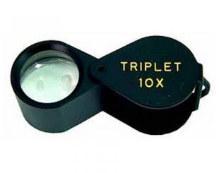Лупа - триплет 10х круглая черная в металлическом корпусе (в футляре), d-18мм