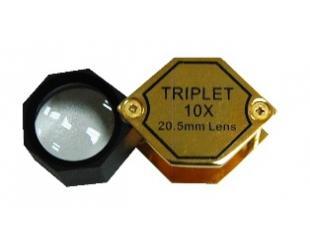 Лупа - триплет 10x шестигранная золотая в пластиковом корпусе, d-20,5 мм